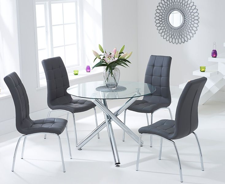 Odessa Glass Dining Table Set with 4 Chairs (Chair Colour: Charcoal)
