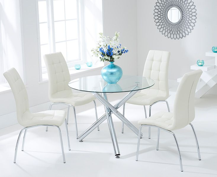 Odessa Glass Dining Table Set with 4 Chairs (Chair Colour: Cream)