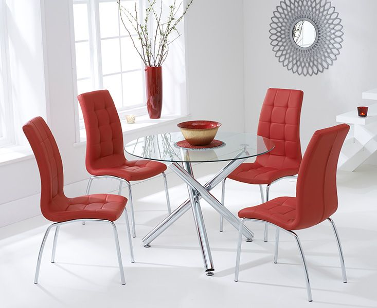 Odessa Glass Dining Table Set with 4 Chairs (Chair Colour: Red)