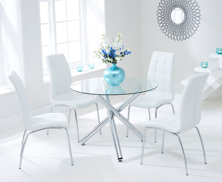 Odessa Glass Dining Table Set with 4 Chairs (Chair Colour: White)