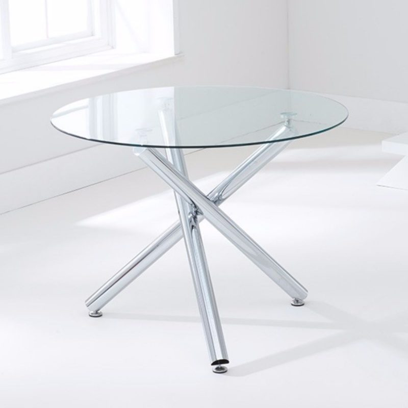 Odessa Clear Glass Round Dining Set 1