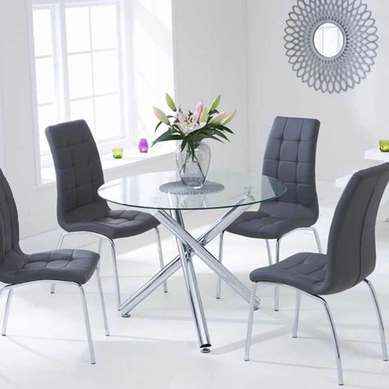 Odessa Clear Glass Round Dining Set Grey