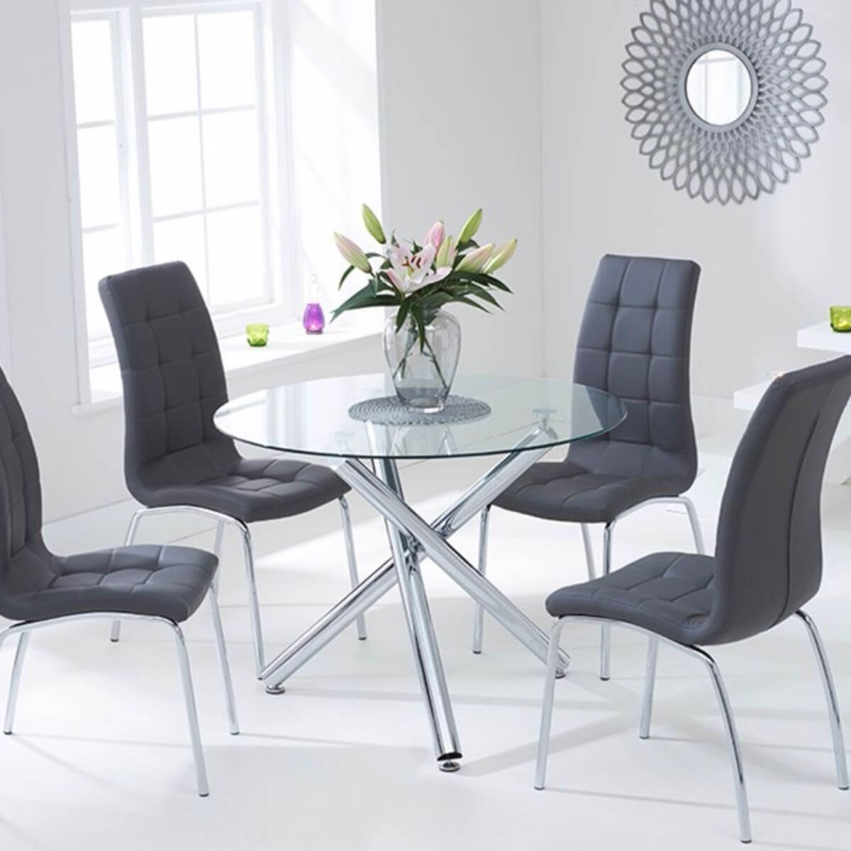 Odessa Clear Glass Round Dining Set Dining Room Furniture Fads