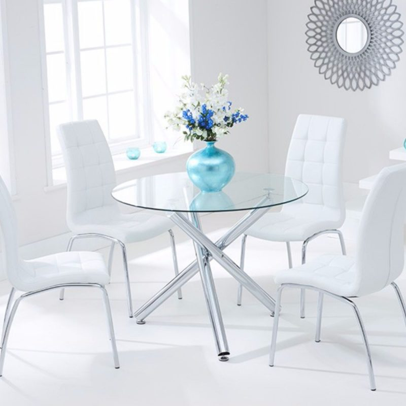 Odessa Clear Glass Round Dining Set Ivory