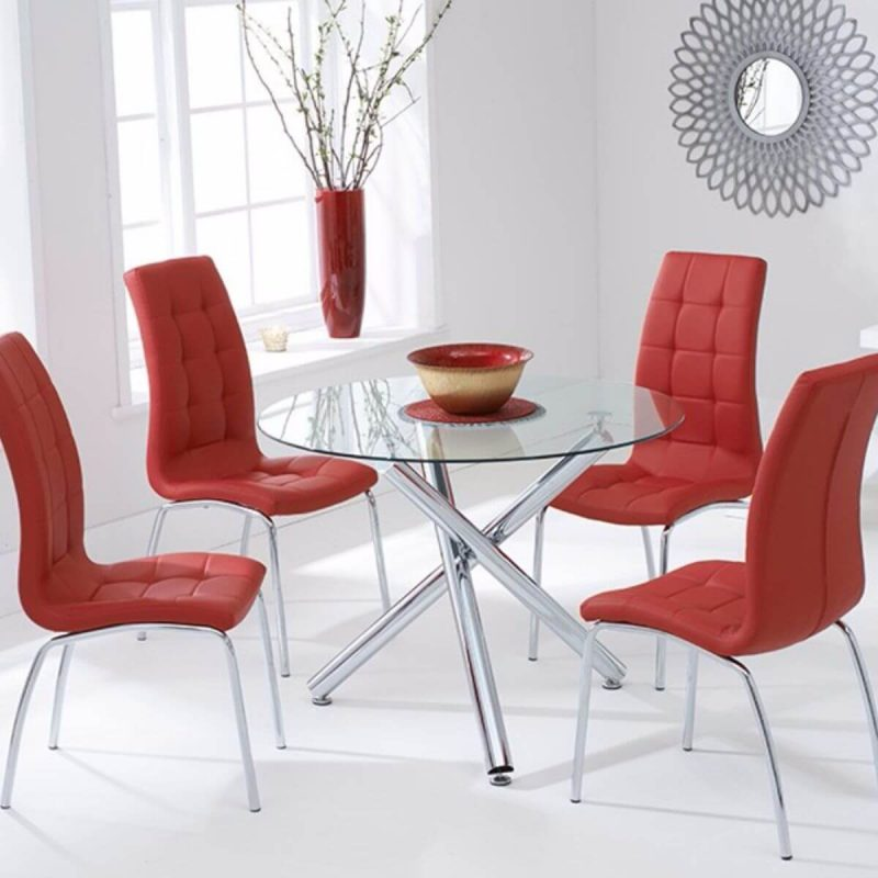 Odessa Clear Glass Round Dining Set Red