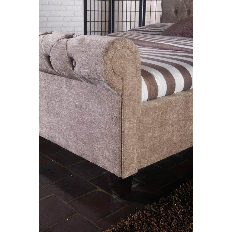 Orbit Scroll Buttoned Bed Frame Velvet Fabric Mink 2