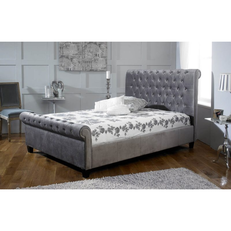 Orbit-Scroll-Buttoned-Bed-Frame-Velvet-Fabric-Silver-2