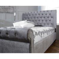 Orbit-Scroll-Buttoned-Bed-Frame-Velvet-Fabric-Silver-3