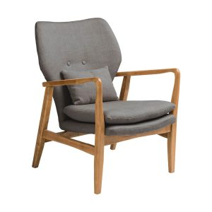 Oslo Armchair Slate Grey Fabric with Birchwood Frame