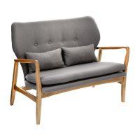Oslo Sofa Grey Fabric with Birchwood Frame