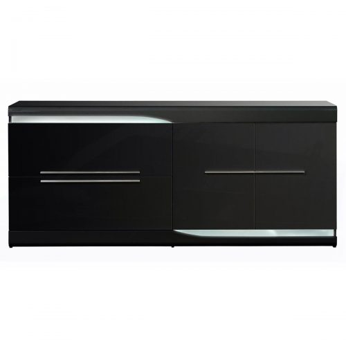 Ovio Sideboard with LED Lights Black Gloss 2 Drawer 2 Door