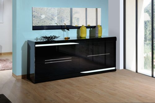 Ovio Black Gloss Sideboard with Lights 1