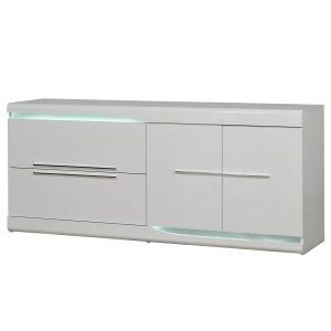 Ovio Sideboard White Gloss with LED Lights 2 Drawer 2 Door