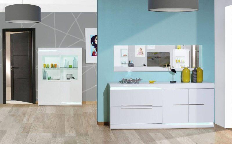 Ovio White Gloss Sideboard with LED Lights 3