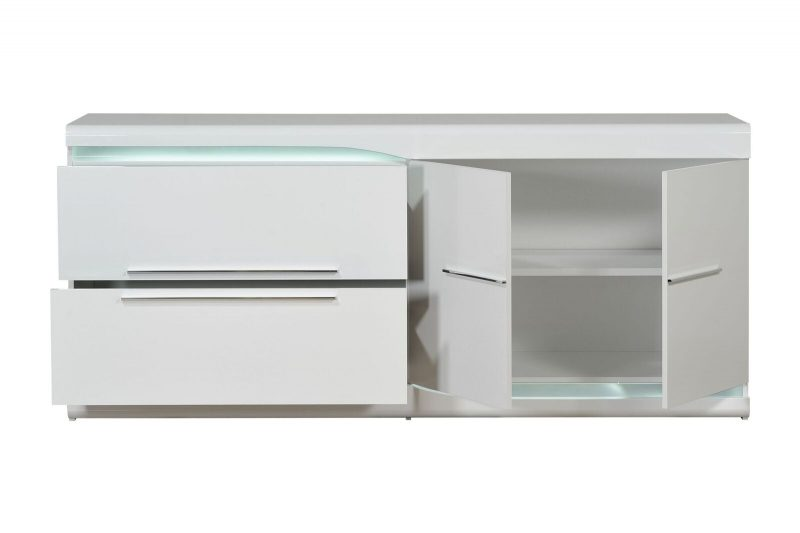 Ovio White Gloss Sideboard with LED Lights 1