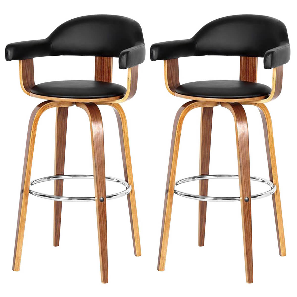pime pair of black faux leather bar stools walnut base fads. Black Bedroom Furniture Sets. Home Design Ideas