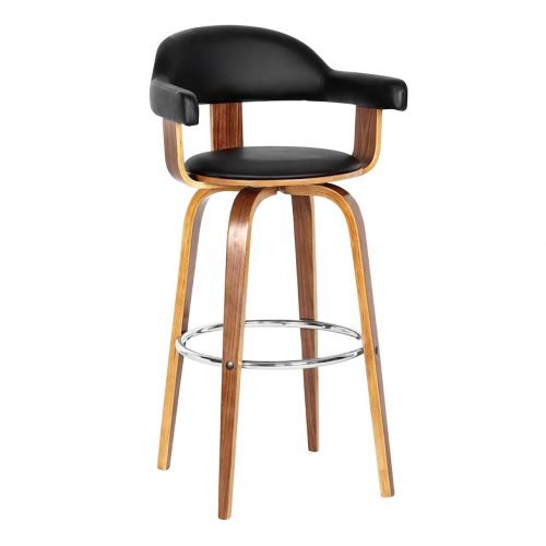 Prime Black Faux Leather & Walnut Bar Stool