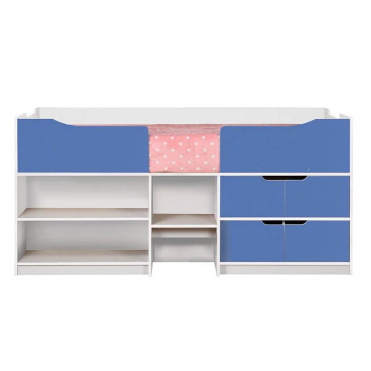 Paddington Kids Single Cabin Bed With Storage Blue & White
