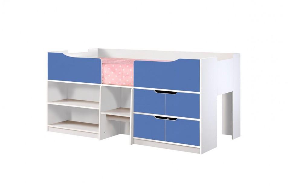 Paddington Kids Single Cabin Bed With Storage Blue & White 2