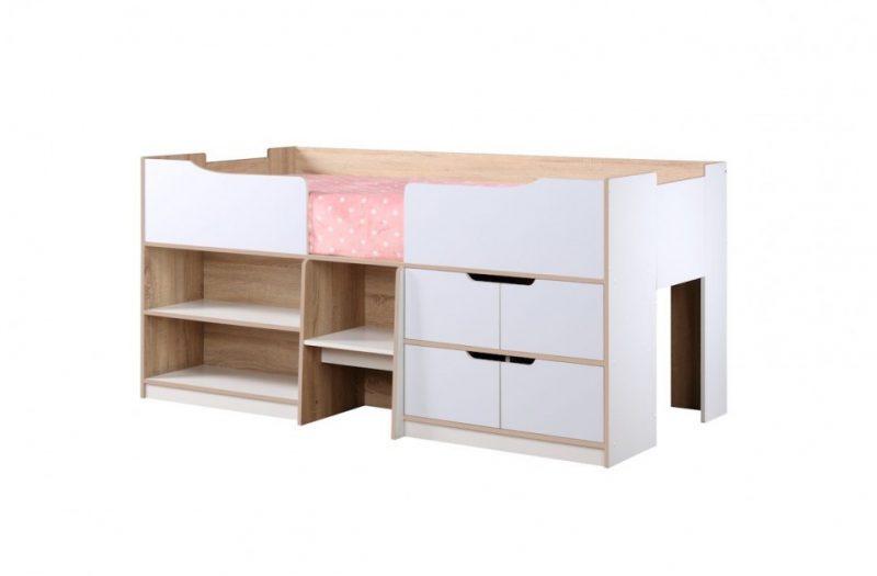 Paddington Single Cabin Bed With Storage Oak & White 3