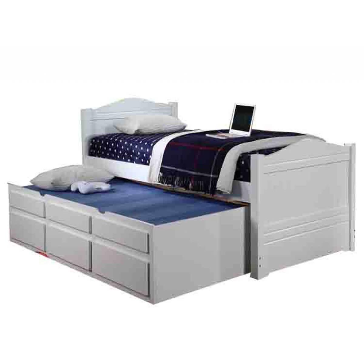 Paddington Trundle and Storage Single Bed White