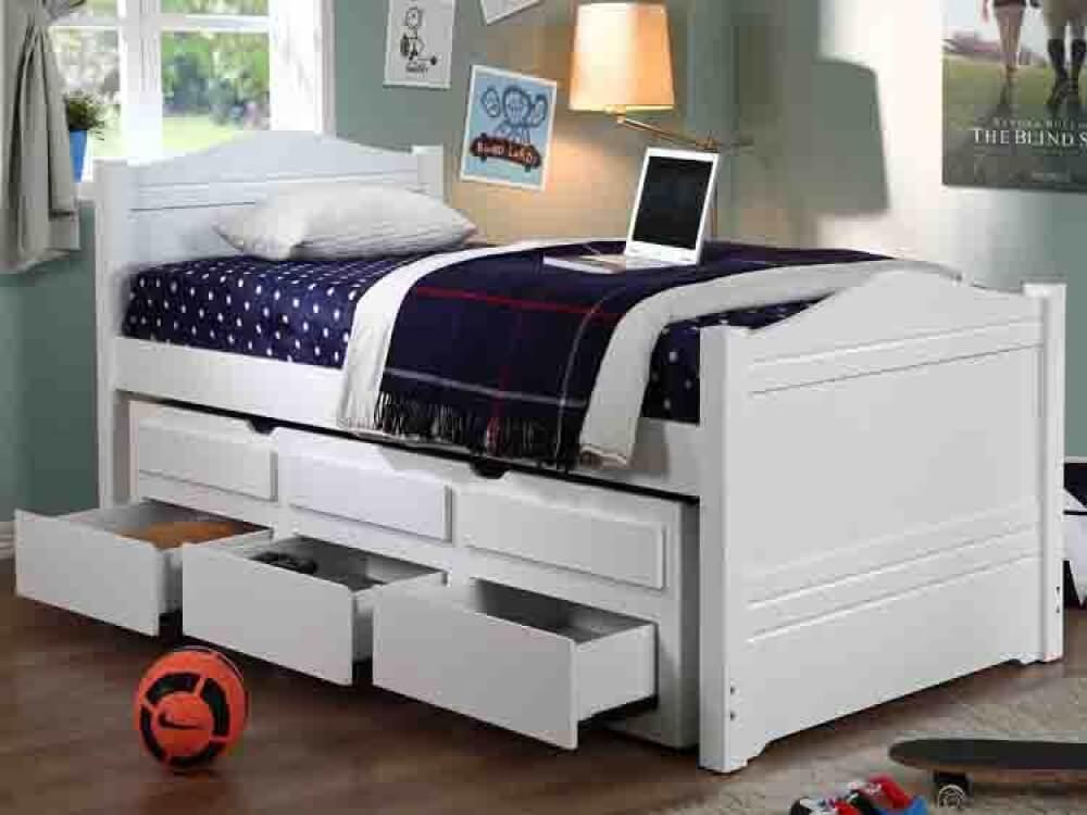 Paddington Trundle & Storage Single Captains Bed White 2