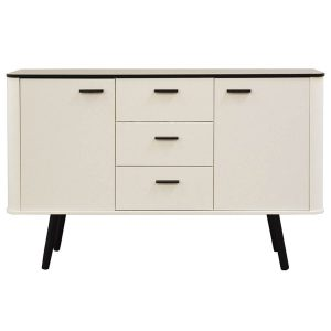 Piano Sideboard Scandinavian Style White With Black Legs