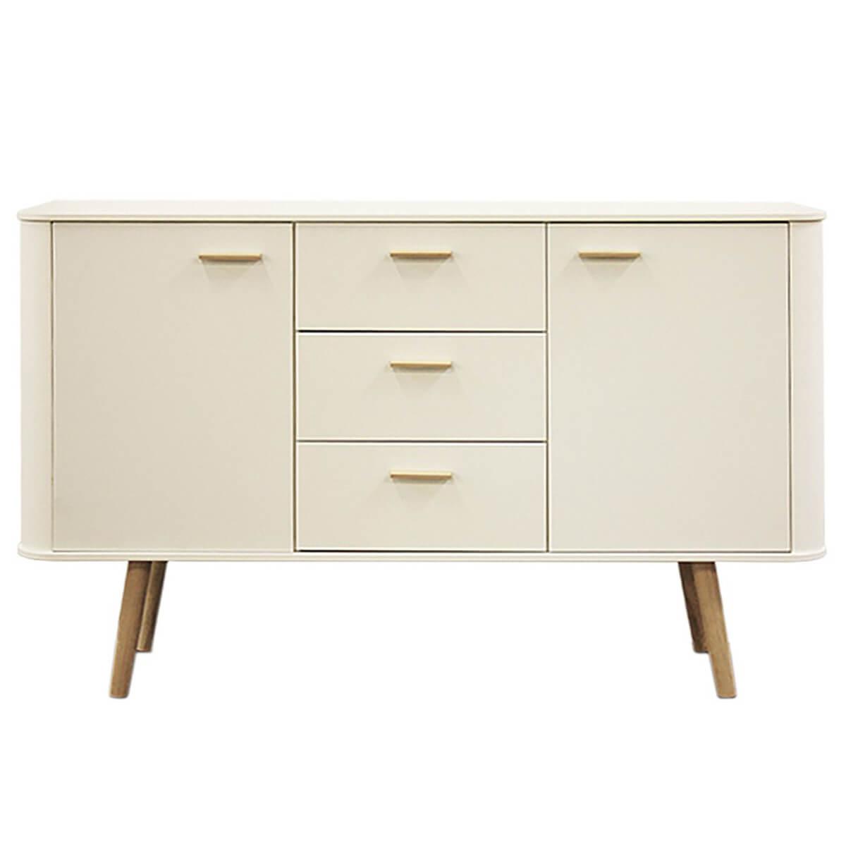 Piano Sideboard Scandinavian Style White With Oak Legs