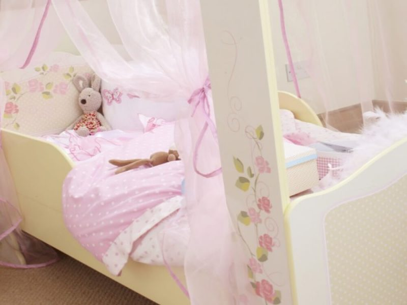 Princess 4 Poster Single Toddler Bed Cream With Floral Design 2