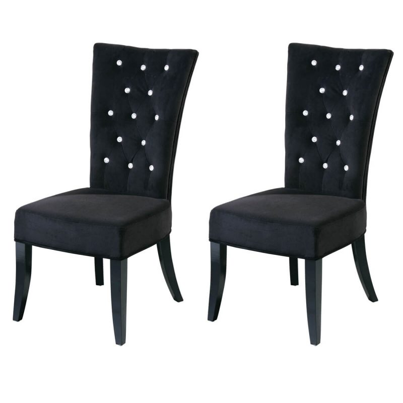 Radiance Black Velvet Dining Chairs Diamante Dining Chairs FADS