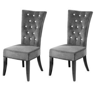 Radiance Dining Chairs Grey Velvet Diamante