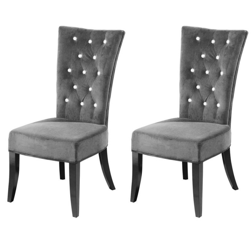 Radiance Dining Chairs Grey Velvet Diamante