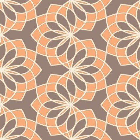 Geometric Floral Garland Chocolate Orange Wallpaper 1