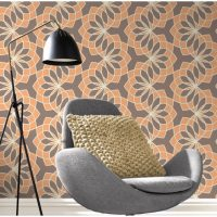 Geometric Floral Garland Chocolate Orange Wallpaper Roomset