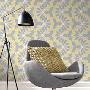 Geometric Floral Garland Yellow & Grey Wallpaper 2