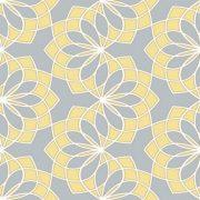 Geometric Floral Garland Yellow & Grey Wallpaper 1