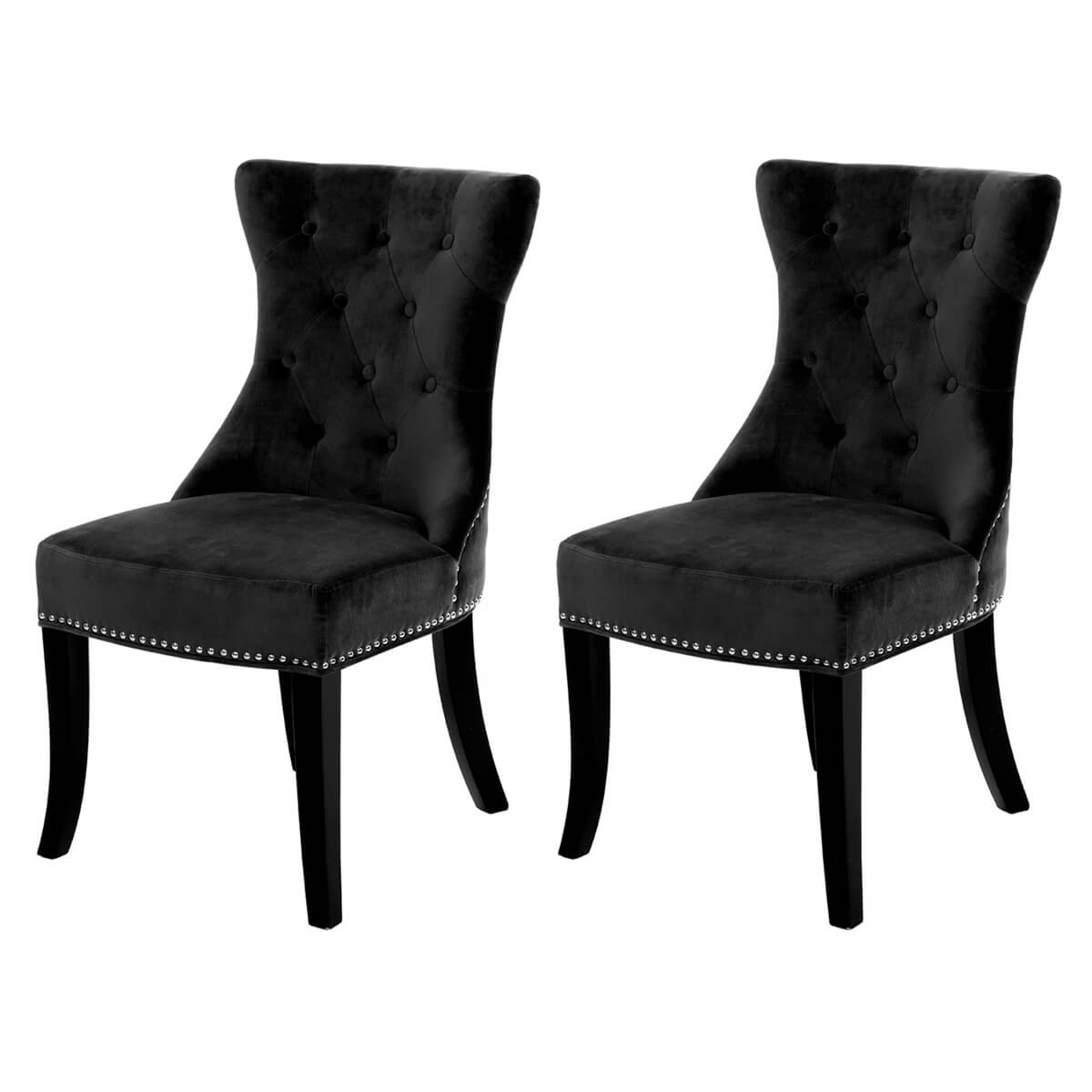 Regents Park Dining Chairs Buttoned Black Velvet