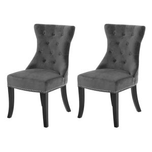 Regents Park Dining Chairs Buttoned Charcoal Grey Velvet