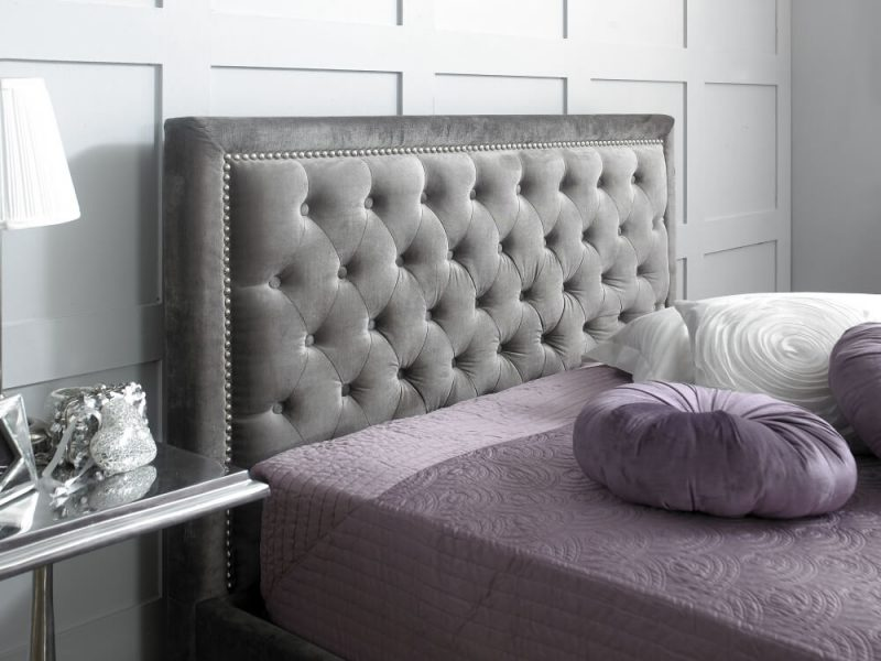 Rhea Buttoned Bed Frame Fabric Silver 3