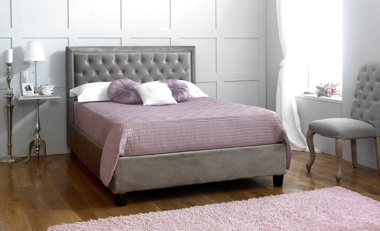 Rhea Buttoned Bed Frame Fabric Silver 2
