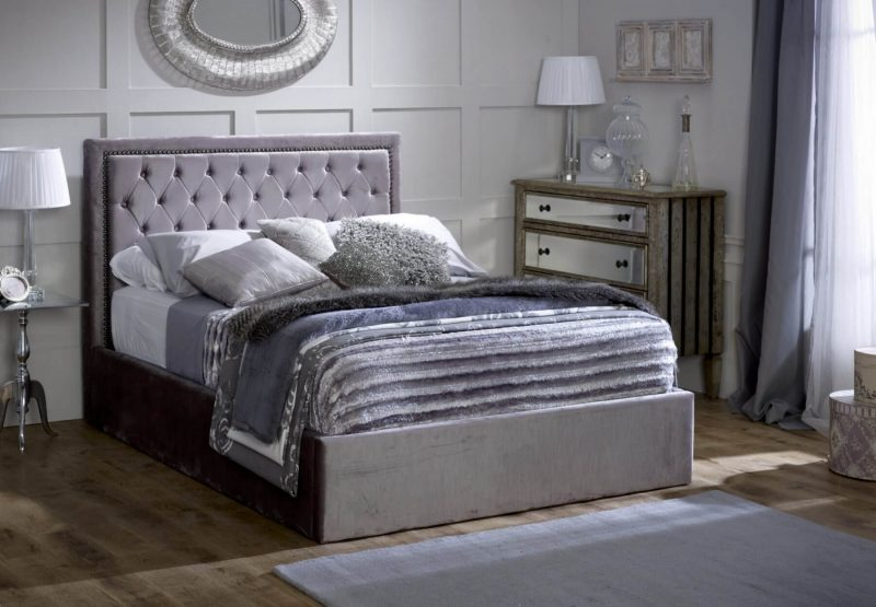 Rhea Ottoman Bed Frame Fabric Silver 2