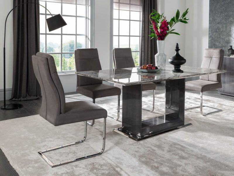 Rina Grey Cantilever Dining Chairs 2