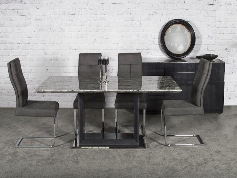 Rina Grey Cantilever Dining Chairs 1