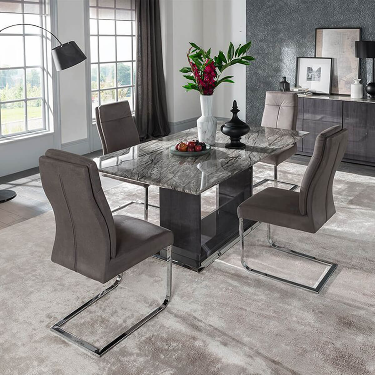 Granite Dining Table Set: Rina Grey Marble Dining Table Set