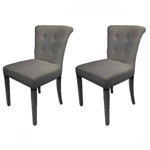 Sandringham Dining Chairs Grey Linen Fabric
