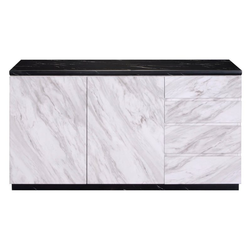 Santos Marble Effect Sideboard 2 Door 4 Drawer