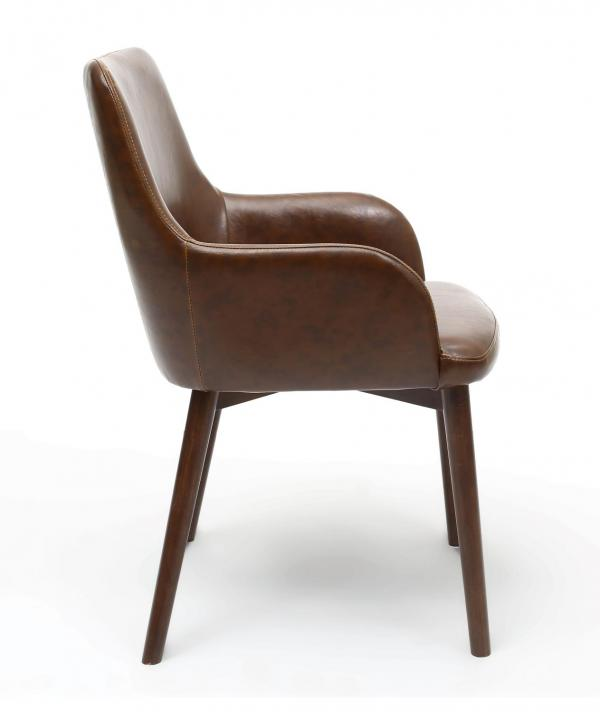 Sidcup Brown Leather Dining Chairs 2