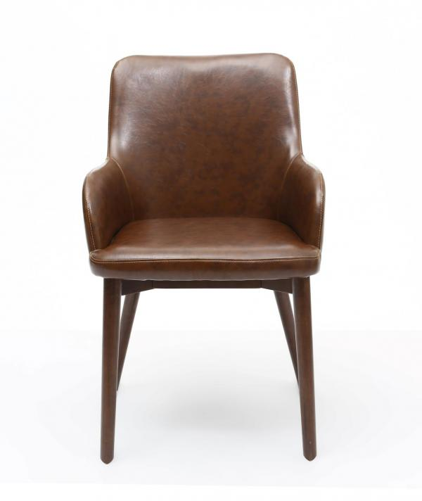 Sidcup Brown Leather Dining Chairs 3