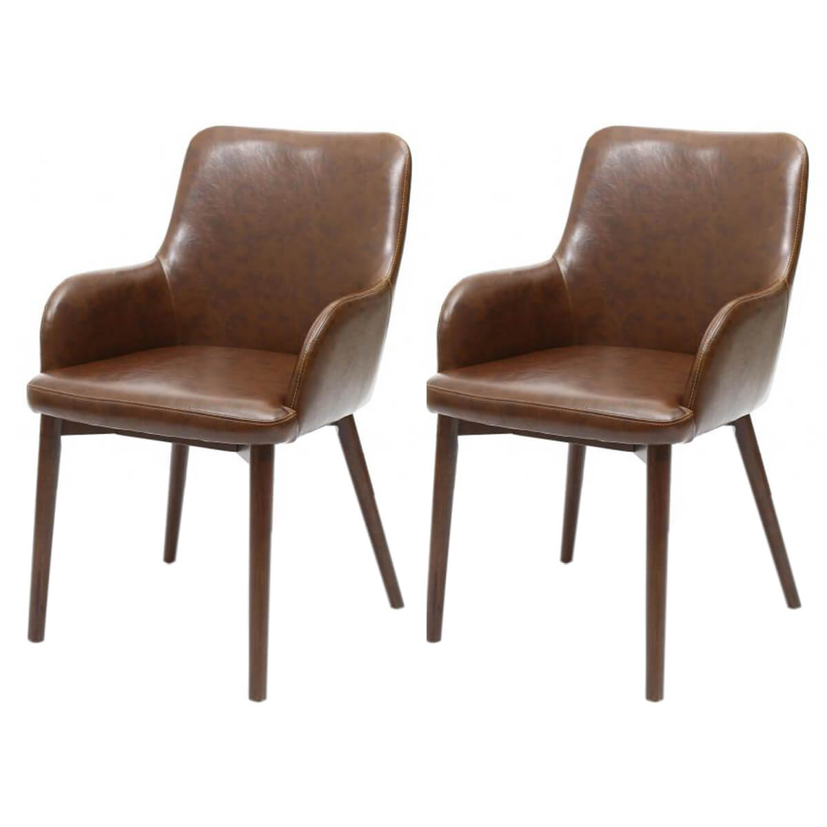 Sidcup Dining Chairs Vintage Brown Leather (Pair)