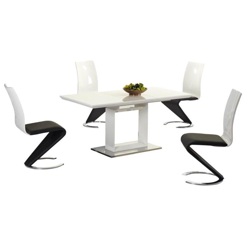 Space White High Gloss Extending Dining Set 2